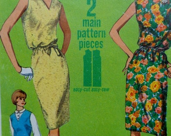 60s Jiffy Shift Dress Pattern Bust 34 Simplicity 5963 Size 14 Shift Dress