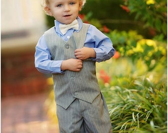 Boys Suit--Vest and Pants--Light Gray--Ringbearer--Portraits--Church--Available in many colors