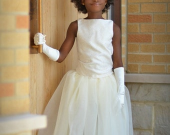 Junior Bridesmaid Dress--Ivory and Gold Sparkle Scroll Detailing--Perfect for Weddings--Formal Portraits--Many Colors to Choose From