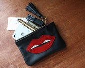 Red Lips - Black Leather and Red Suede Wallet // Red Lips Leather Wallet / Red Lips Leather Phone Case