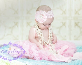 Pink headband, Baby headband, infant headband, newborn headband,  photo prop, pink satin flower on pink lace headband