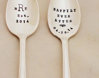 The Bridal Pair. Coffee Lovers Wedding Spoons. CUSTOM His Hers. Gift for the Blushing Bride. Pretty in Pink. Romantic Love. Vintage Spoons.