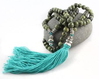 Green Mala, Gemstone Mala, Mala Beads, Yoga Jewelry Women, Tassel Mala, 108 Bead Mala, Tassel Necklace, Japa Mala, Prayer Beads, Yoga Gift