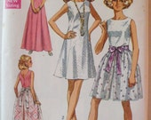 Womens Vintage Sewing Pattern - Dress in Two Lengths with Overskirt - Simplicity 8641 - Size 12, Bust 34, Uncut
