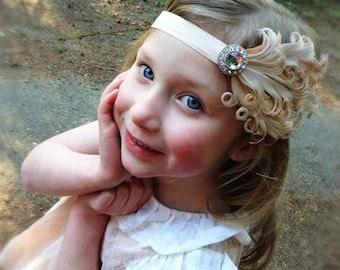 Ivory  tan feather headband, baby headband, nagorie feather headband, toddler headband, adult headband