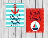 Red, White, Blue, Teal Bathroom Printable - Anchor Brush Your Teeth - Sailboat Wash Your Hands - Instant Download