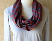 Cotton Circle Scarf - Dark Grey with Red Arrows - Infinity Scarf - Super Soft Cowl - Comfy Fall Scarf - Woman's Loop Scarf -Ready to Ship