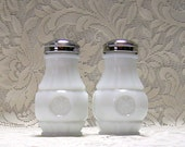 Milk Glass Salt and Pepper Shakers - Eagle Coin - circa 1960s