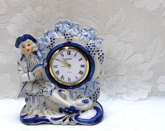 Linden Wind Up Alarm Clock - Colonial Man - French Country Decor - Blue and White Porcelain - Made in Japan
