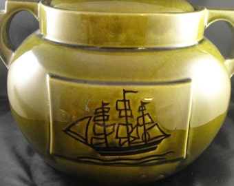 Green Crock or Cookie Jar With Ship Two Handled Heavy