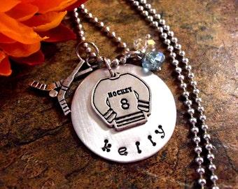 Hockey Jewelry, Hockey Necklace, Personalized Hockey Jewelry, Hockey Jersey Jewelry