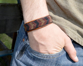 Black and Brown, Mens Chevron Bracelet, Hipster Bracelet, Casual Bracelet, Leather Anniversary, Mens Tribal Bracelet, Mens Boho Bracelet