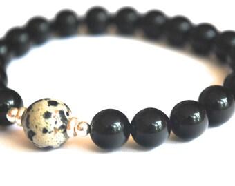 Dalmatian Jasper + Onyx mala bracelet - 21 stone mala.  Inspiration, Positive Energy, Focus. Womens, Mens, Unisex, Bracelet. Yoga Bracelet.