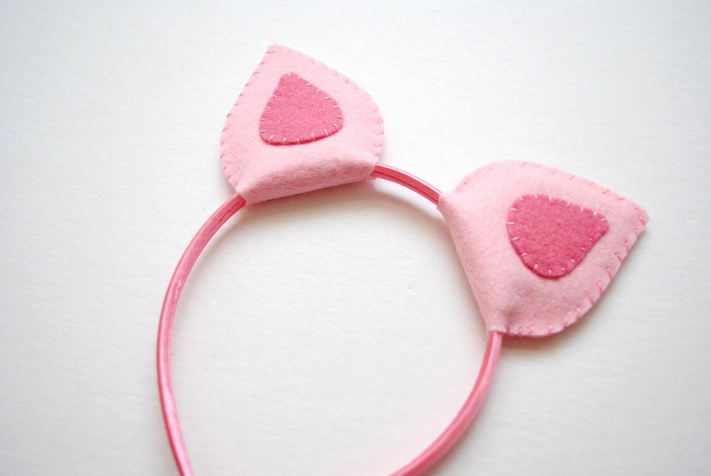 Wool felt pig ears headband for Template for pig ears