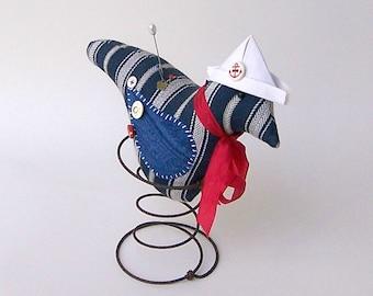 LITTLE BLUE BIRD in Rusty Spring, Nautical, Sailor, Navy Blue and White Stripe, Pinkeep Pincushion, Ornament