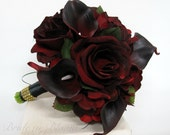 Silk Bride Bouquet real touch majestic red calla lily black baccara rose 8 inch Wedding bouquet