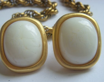 Givenchy Cream and Gold Earrings