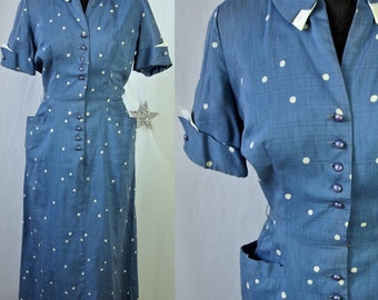 40's Dress Blue Polka Dot Betty Hartford Cotton Print  Pin Up Girl size small