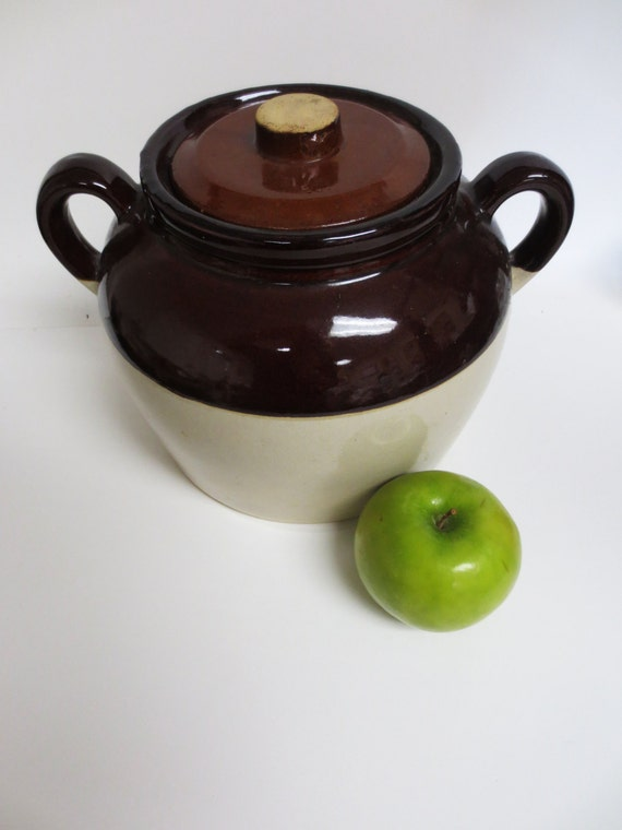 Vintage Ceramic Brown and White Salt Crock with Lid - Newly Reduced Cost