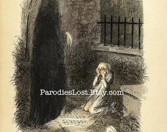 Charles DICKENS Christmas Carol SCROOGE Last Spirit Ghost Future Print