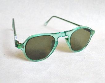 1940s 50s deadstock Green Crookes small sunglasses / 40s child's sunglasses