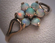 Antique Australian Opal Ring Vintage Wedding Victorian