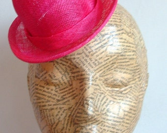 Sinamay Mini Hat - Bowler- Hot Pink