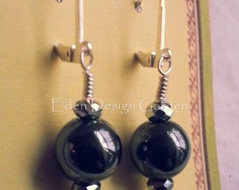 Hematite and silver faceted Czech glass earrings with sterling silver