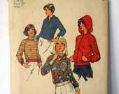 Size 16  Simplicity 6490 Unlined Jacket & Top Shirt Blouse Hoodie Sweatshirt 1970s Retro Vintage  Women Misses Uncut Sew Sewing Pattern