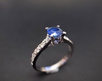 Blue Sapphire Engagement Ring in 14K Gold, Diamond Engagement Ring, Diamond Ring, Diamond Wedding Band, Blue Sapphire Ring, Sapphire Band