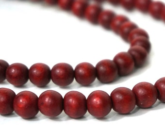 8mm round wood beads, rust brown, eco-friendly wooden beads (960R)