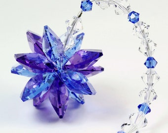 m/w Swarovski® Crystal, Purple & Blue Fusion StarBurst Sunburst Star SunCatcher Ornament, Pearl Place N More