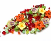 Red, orange, yellow bead mix / bead soup