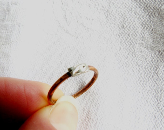 Rustic Skinny Band Slim Band Ring Stackable Rings Copper and Sterling Silver Ring Handmade Gift