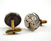 Personalised Steampunk Cufflinks, Watch Movement Cufflinks, Circular Cuff Links