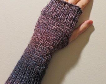 Wool blend Hand Knit Wrist Warmers Fingerless Gloves in 'heather'
