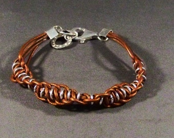 Leather Bracelet, Brown Leather Bracelet, Women's Leather Bracelet, Bangle Bracelet, Silver charm Bracelet, Stacking Bracelet, gifts