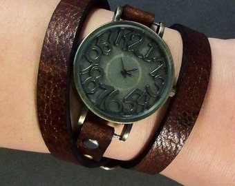Wrap  Watch-Brass Watch-Retro Watch-Gifts-Boho Watch-Womens Watch-Vintage  Watch-Bracelet Watch-Watch for Women-Wrist Watch-Brown Watch