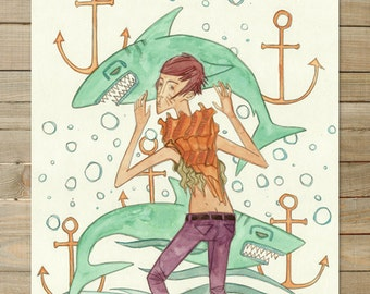 Shark / Seashell Girls 3 of 3 / 11 x 14 Art Print | hipster nautical anchor fashion beach girl bath decor
