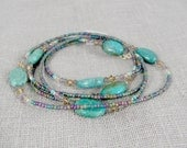 36 Inch Turquoise Necklace with Petite Gemstones and Sterling Silver and Japanese Seed Beads