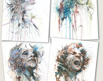 Silent Screams, Set of 4 Different Postcards, Signed and Numbered from edition of 500