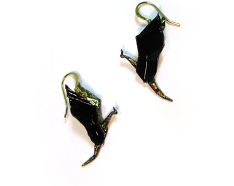 Origami Dragon Earrings Black and Gold Dragons Fantasy Jewelry