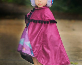Childs Cape Sewing Pattern, S139 Traveler Cape Digital Sewing Pattern, Sizes 12-18M to 8-10Y, Princess Anna Style Childs Cape Pattern