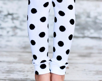 Leg Warmers - Black Polka Dots on White