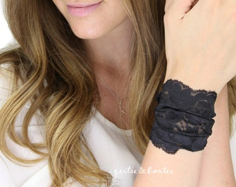 BLACK WRIST CUFF lace wrist cuff, thick wide lace jewelry, lace arm band