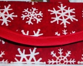 White Snow Flakes on red fabric,  Money gift Wallet 7 x 3 in, red bias tape, lining same, Christmas Holiday, Red bias tape