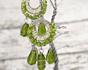 Vintage Earrings Green Fairy Medieval Style Hoop Pendant Earrings Lime Grass Green Light Yellow Green