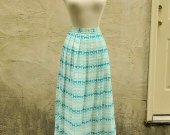 Jack Winter Blue Bow Print Maxi Skirt Sz S-M // 1970s Pleated