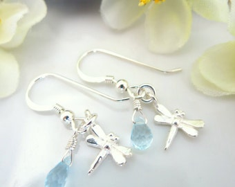 Sterling silver dragonfly blue topaz dangle earrings, botanical dragon fly blue topaz dangle earrings
