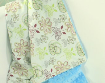 Minky Baby Blanket - Scribbled Floral - Personalization Options Available